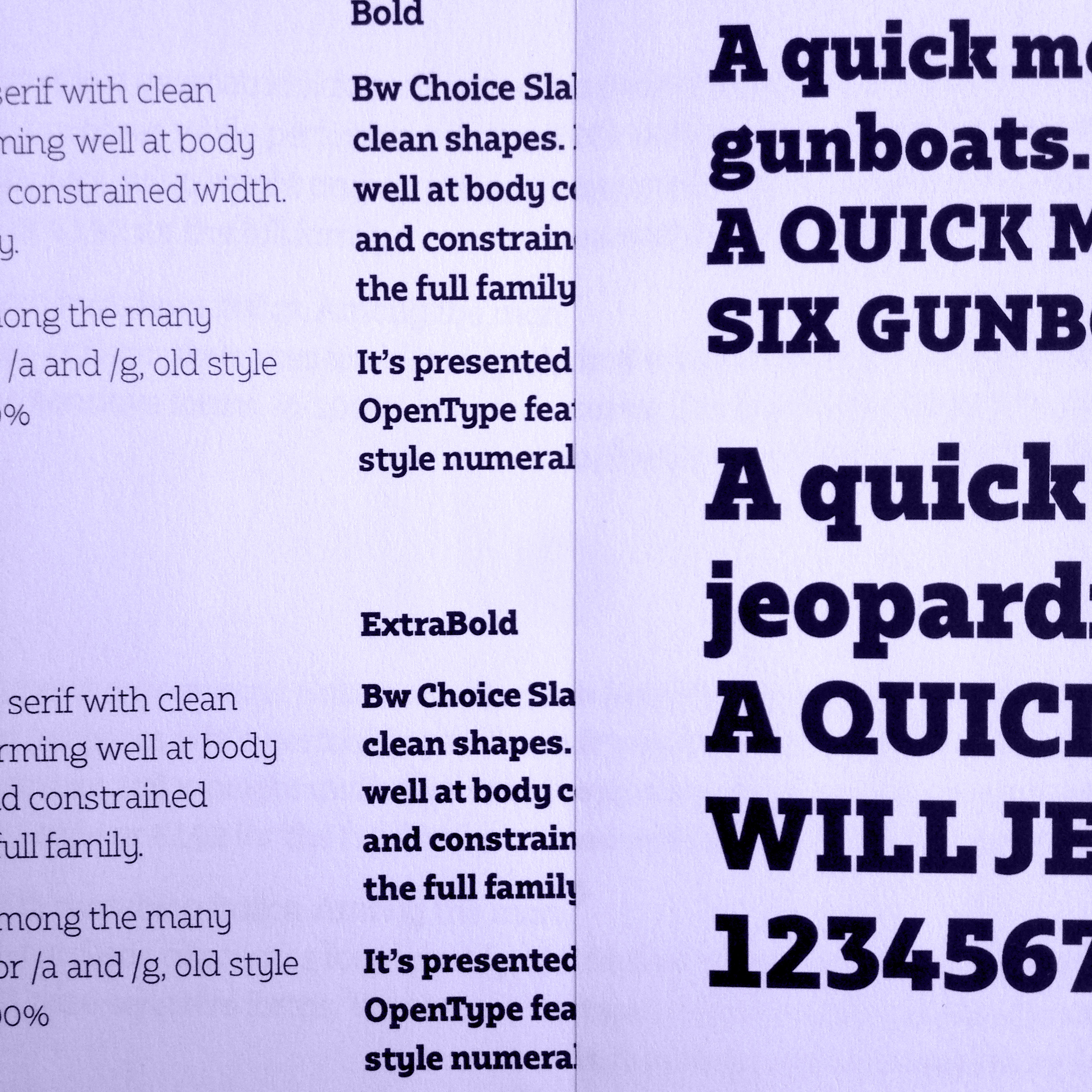 Bw Choice Slab typeface wip preview