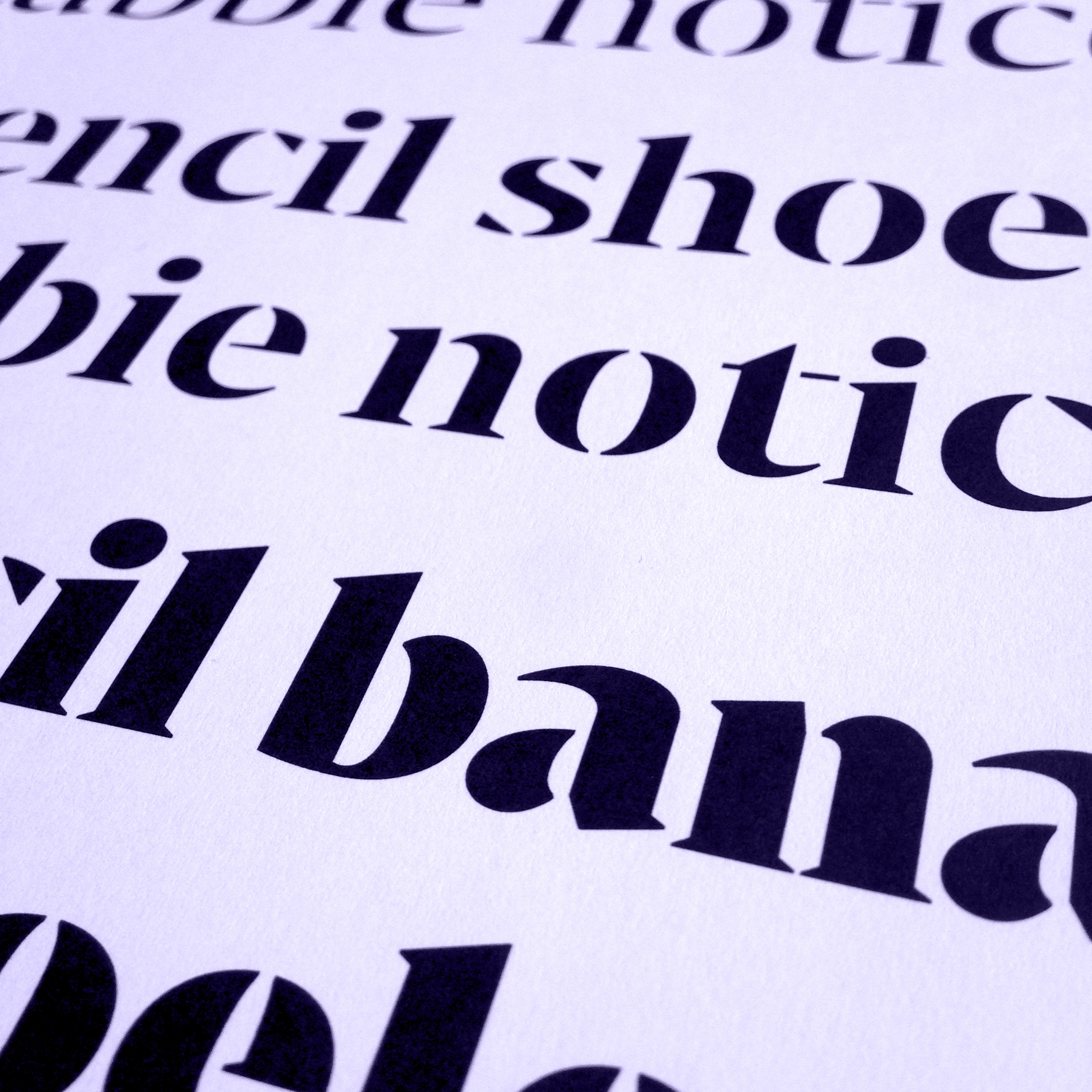 Bw Darius Stencil typeface wip preview